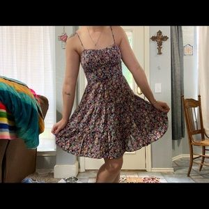 Vtg 90s Floral Spaghetti Strap Dress